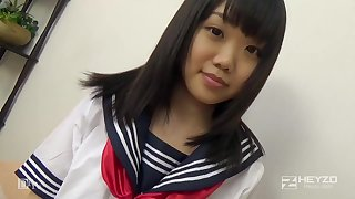 Asian honey, Natsuno Himawari is wearing her college uniform for ages c in depth object smashed and fellating prick