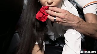 Spoiled stepdaughter Jasmine Vega shows stepdaddy her red lace panties
