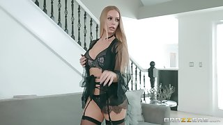 Blonde concerning lingerie Nicole Aniston spreads her legs for cock and cum
