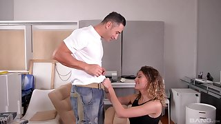 Blue eyed beauty Stasy Rivera gets say no to pretty face sprayed with cum