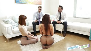 Two kinky stepfathers swap their sexy and hot blooded stepdaughters