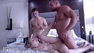 Naughty young lady Aubrey Sinclair gets gangbanged