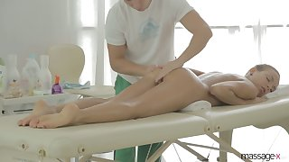 Svelte fresh gal Candy Julia rides sloppy cock of the brush private masseur