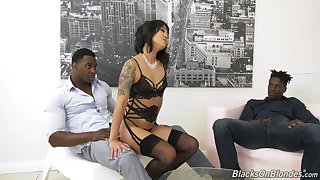 Two black dudes fuck anus and pussy of Korean porn model Saya Song