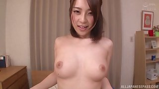 Before she sits on a penis Hachino Tsubasa gives a blowjob to her friend