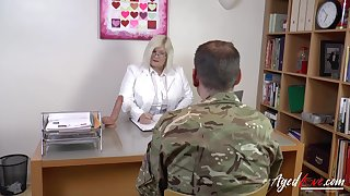 Busty blonde is playing with burned out former soldier and his hard dick