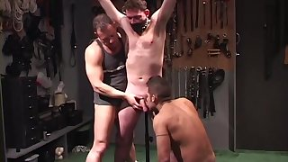 Gay man roughly fucked and sucked by two dominant males
