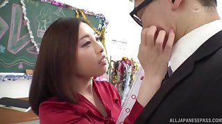 Slutty Japanese babe gives a rimjob and gets mouth fucked balls deep