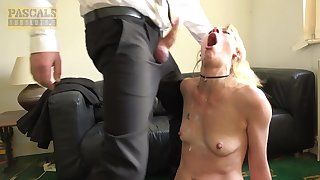 Desirable blonde girlfriend gives head and gets rough fucked